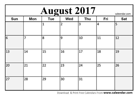 Calendar 2017 August Printable august 2017 calendar pdf printable template with holidays