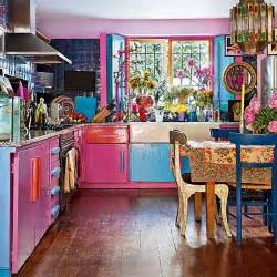 eclectic pink and blue kitchen decorating housetohome