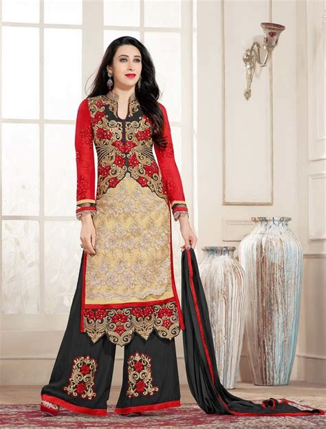 latest designer plazo suits new designer cream and black straight plazo suit plazo