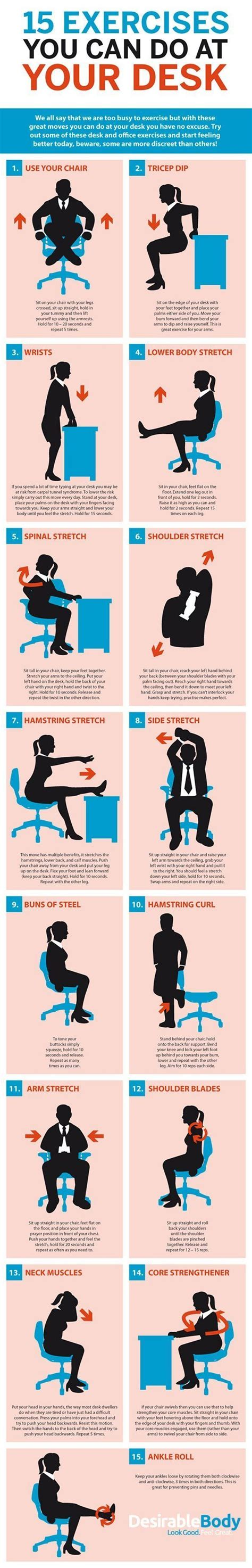 Office Workouts At Your Desk 15 Exercises You Can Do At Your Desk Exercises Workout And