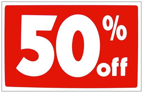 50 Percent Off Gift Cards - 50 off retail store sale business discount promotion message signs ebay