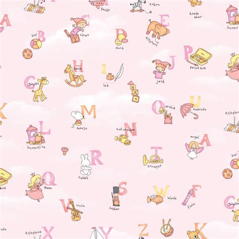 Childrens Wall Mural Stickers pink alphabet pattern self adhesive baby room wallpapers