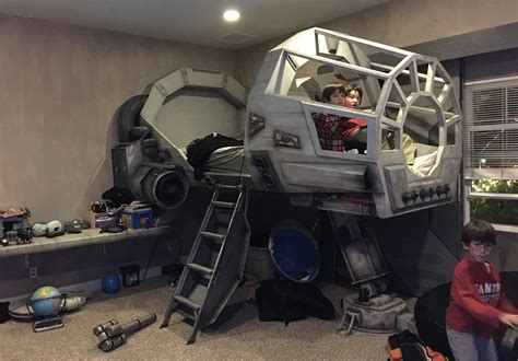 starwars bed gifted designer builds millennium falcon bed for his son ign