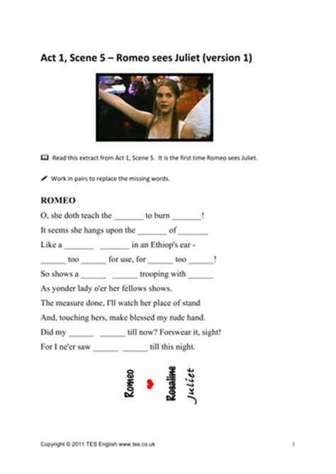 Romeo And Juliet Act 1 Worksheet by Romeo And Juliet Worksheets For Act 1 5 By