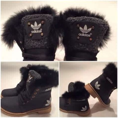 shoes adidas black fur boots winter boots brown wheretoget