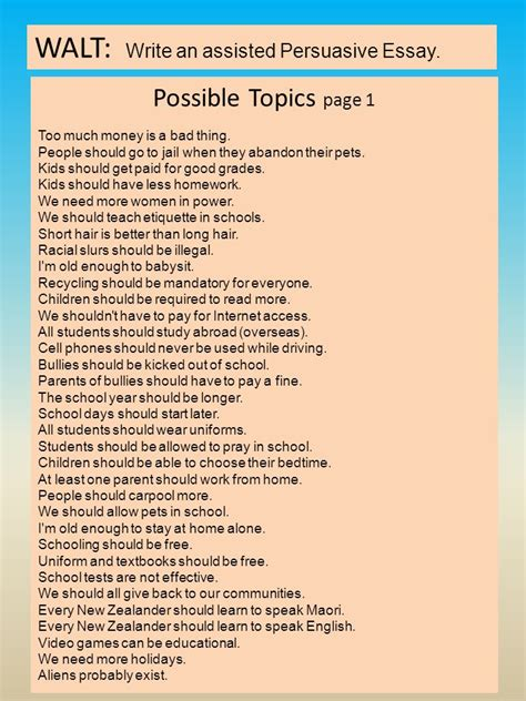 Assisted Persuasive Essay by Important When Viewing This Slideshow The Top Slides Are The Most Recent The Work We Are