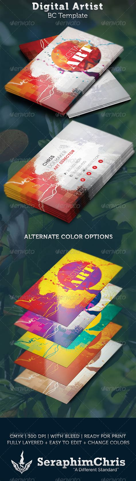 artist business cards templates digital artist business card template by seraphimchris