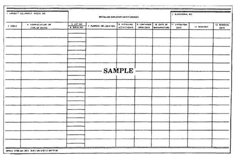 equipment log book template installed explosive safety devices opnav 4790 26a 14019 22