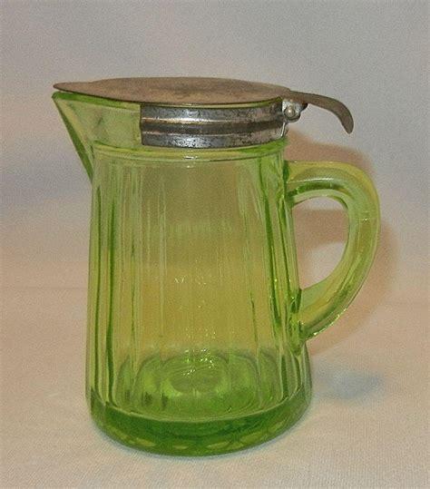 Depression Glass Ls by Vintage Uranium Glass Pitcher Depression Glass Syrup