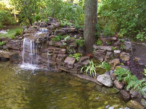 waterfall house design backyard garden house design with ponds and stone waterfall plus various trees ideas