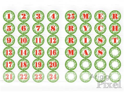 printable christmas numbers 1 25 items similar to printable advent calendar number 1 25
