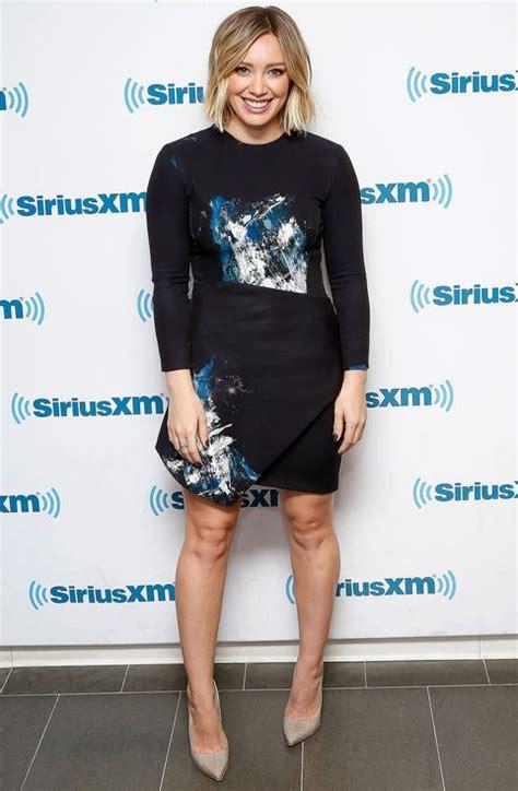 Hudson Hilary Duff Spice Up Glaad Awards by Hilary Duff In A Splatter Print Black Mini Dress And