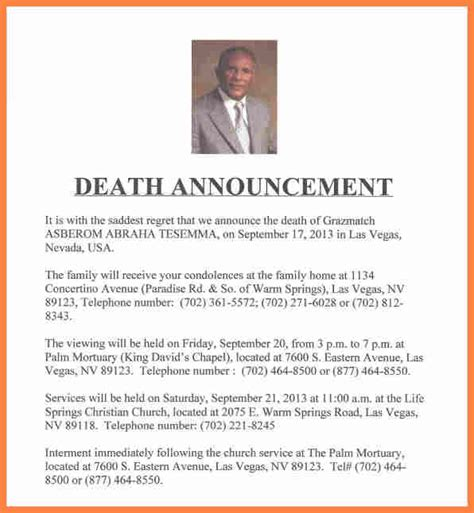 7 Funeral Notice Exles Notice Letter Funeral Announcement Template