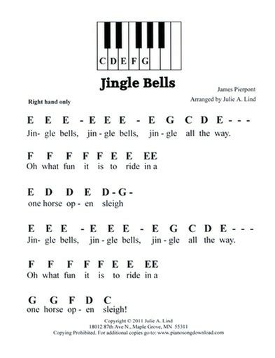 tutorial piano jingle bells jingle bells free pre staff easy christmas piano music