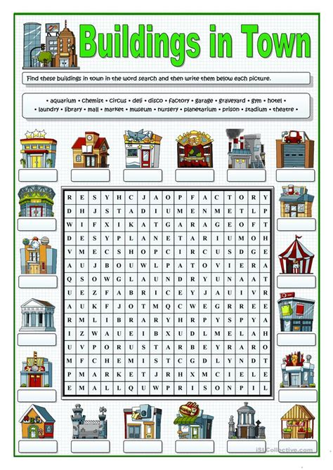 Search In City Buildings In Town Wordsearch Worksheet Free Esl