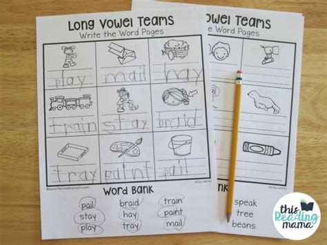 Vowel Teams Worksheets by Vowel Teams Worksheets Write The Word Pages This