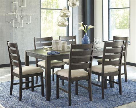 ashley rokane brown rectangle seven piece dining set