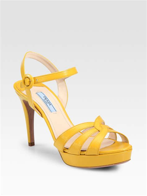 yellow platform sandals prada saffiano leather strappy platform sandals in yellow