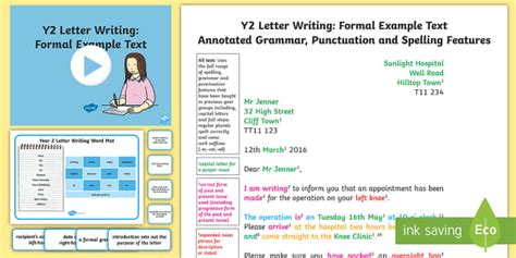 Formal Letter Template Key Stage 2 y2 letter writing formal model exle text exle texts y2