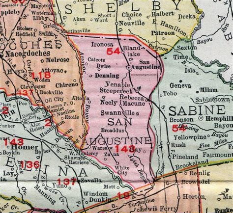 st augustine texas map san augustine county texas 1911 map rand mcnally broaddus denning swannville