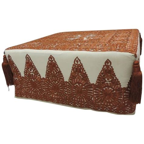embroidered ottoman modern moroccan burnt orange embroidered ottoman with