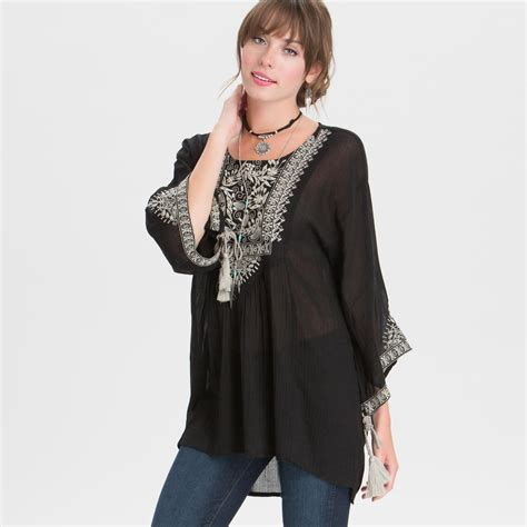 Si Black Jade Top black and gray embroidered jade top world market