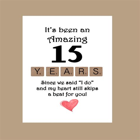 15th Wedding Anniversary Quotes To by 15th Wedding Anniversary Card Fifteen Wedding Anniversary