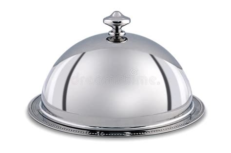 cloche cuisine silver dome or cloche isolated with clipping path stock