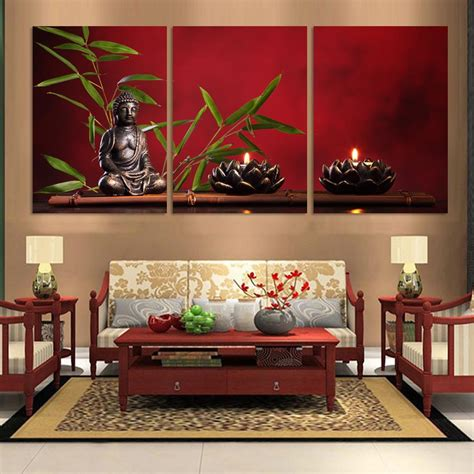 pieces large buddha canvas print painting home decor