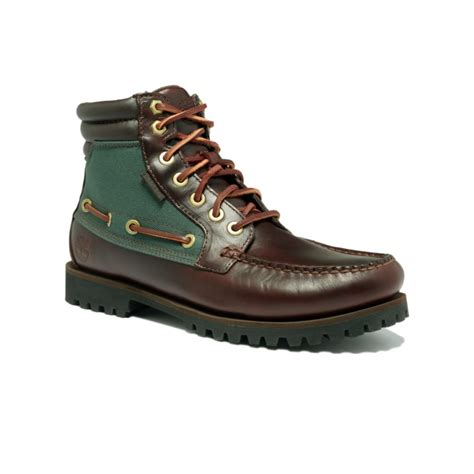green timberland boots timberland oakwell 7 eye moc toe boots in green for