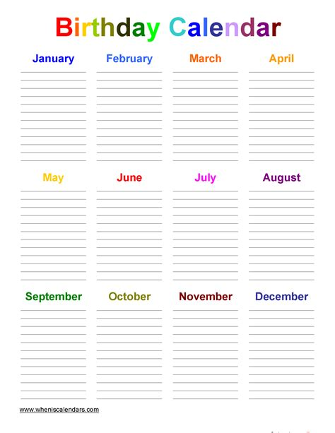 birthday calendar template template birthday calendar template