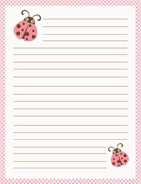 printable ladybug stationery la casita de caro kits de escritorio pink chocolate