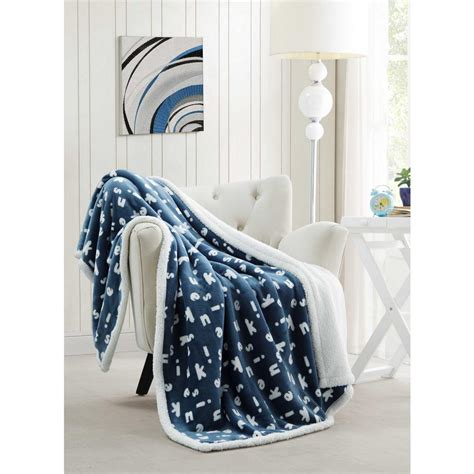 kensie blue sherpa throw midbl 6 11352 the home depot