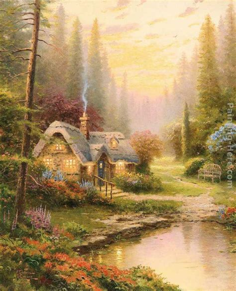 cottage paintings by kinkade kinkade meadowood cottage painting framed