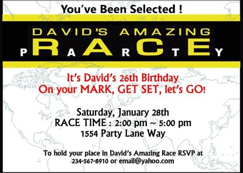 amazing race party supplies and invitations amazing