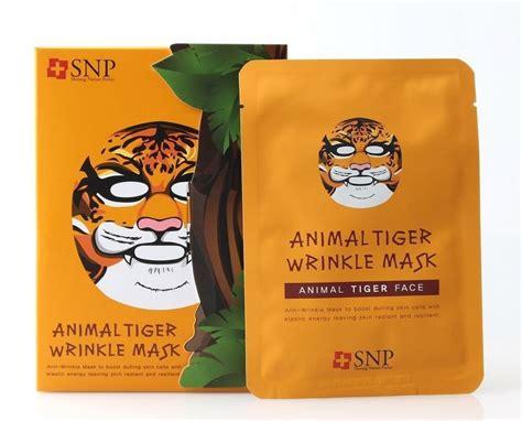 Masker Wajah Snp Animal Tiger Wrinkle Mask snp animal mask tiger wrinkle mask sheet 10ea 1pack
