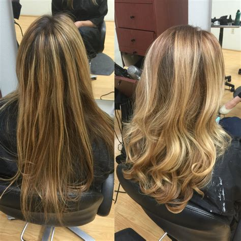 blonde highlights with ash base color correction stripe blonde foil highlights with
