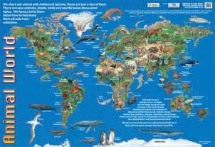 Wall Murals Maps animals of the world animal world map poster buy online