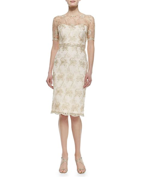 sleeve lace cocktail dress lyst badgley mischka sleeve lace illusion cocktail
