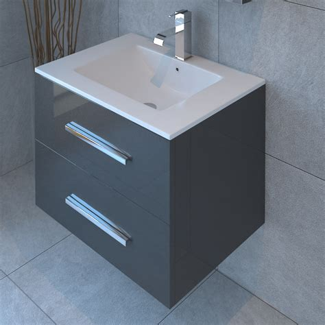 Sonix 800 2 Draw Wall Hung Bathroom Vanity Unit Grey Buy Grey Bathroom Vanity Units