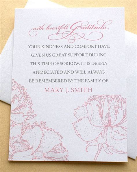 funeral thank you note 25 best ideas about funeral thank you notes on
