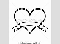 Heart love with ribbon vector illustration design. Easy Drawings Of Hearts With Ribbons