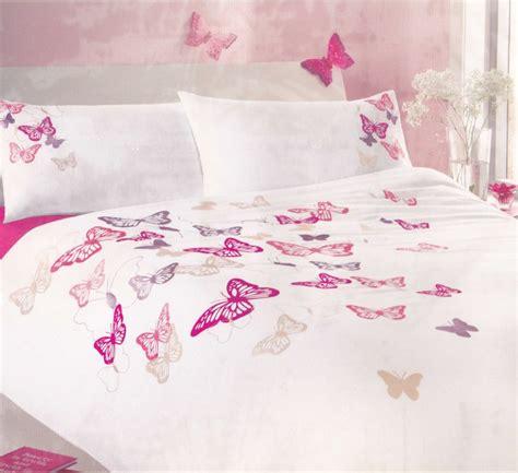 Butterfly Duvet Cover Embroidered Butterfly Duvet Cover Set White Pink Ebay