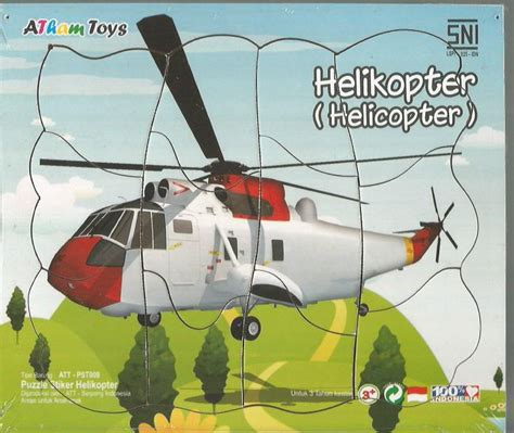 Puzzle Truk 17x20 puzzle stiker helicopter 17x20 mainan kayu