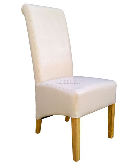 High Back Wood Dining Chairs New Premium Dining Chairs Faux Leather Roll Top Scroll High Back Wood Legs