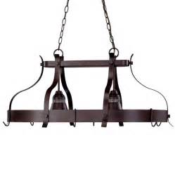 Kitchen Island Pot Rack Lighting Portfolio 2 Light Bronze Lighted Pot Rack Lowe S Canada