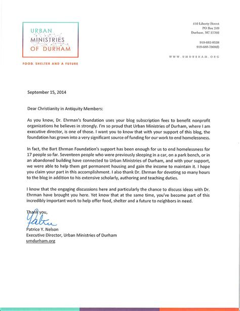 Bank Letter Durham Letter From Ministries Of Durham The Bart Ehrman
