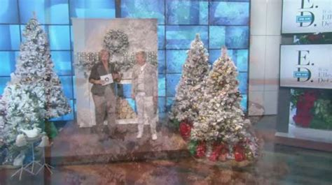 ellen degeneres christmas trees ed on air santa s best 5 flocked spruce tree by degeneres h204017 qvc