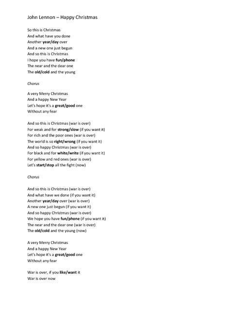 Song Worksheet: Happy Xmas by John Lennon