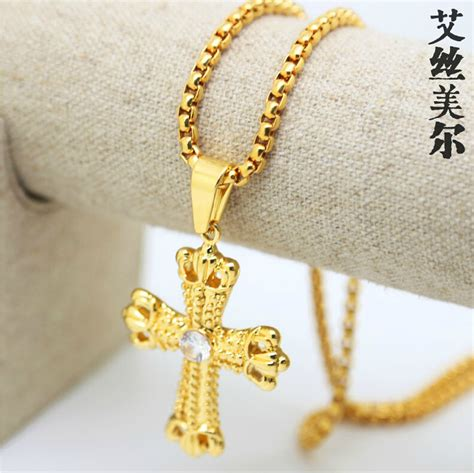 jhnby gold color inlay zircon cross pendant necklace high